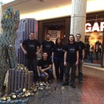 Members of the U of R Canstruction team with their creation. Photo courtesy of Heidi Smithson